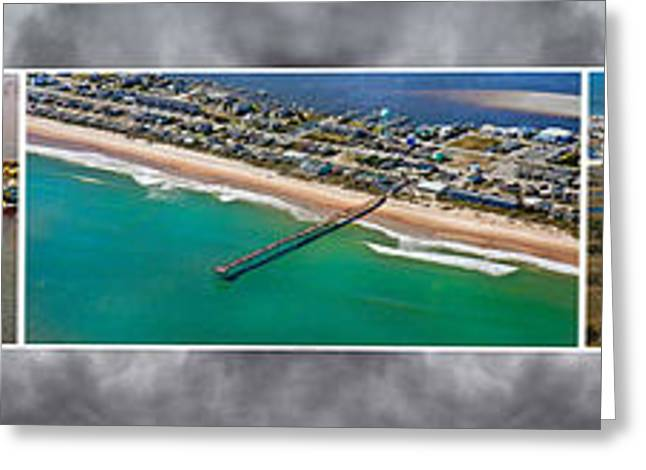 Topsail Island Aerial Panels II Greeting Card by Betsy C Knapp