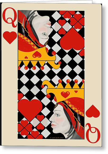 Greeting Card featuring the painting Topsy-turvy Queen by Carol Jacobs