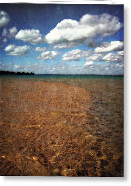 Torch Lake Sandbar 2.0 Greeting Card by Michelle Calkins