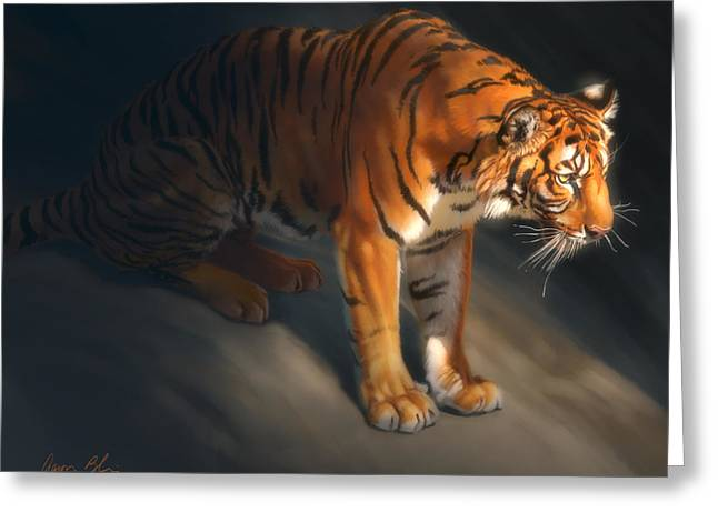 Greeting Card featuring the digital art Torch Tiger 1 by Aaron Blaise