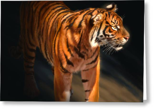 Greeting Card featuring the digital art Torch Tiger 4 by Aaron Blaise
