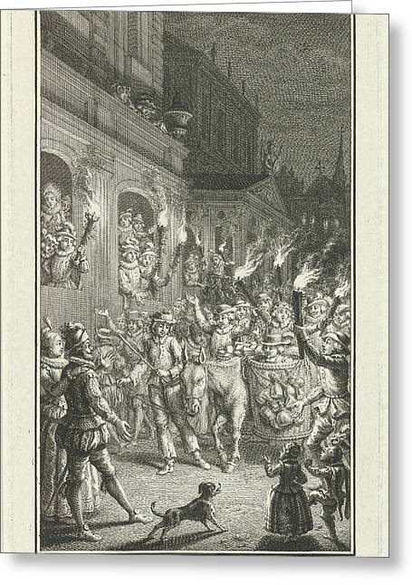 Torchlight Procession Through A City, Print Maker Jacob Greeting Card by Jacob Folkema