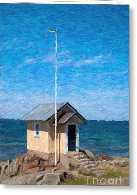 Torekov Beach Hut Painting Greeting Card by Antony McAulay