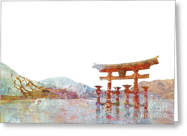 Torii Gate Colorsplash Greeting Card by Aimee Stewart