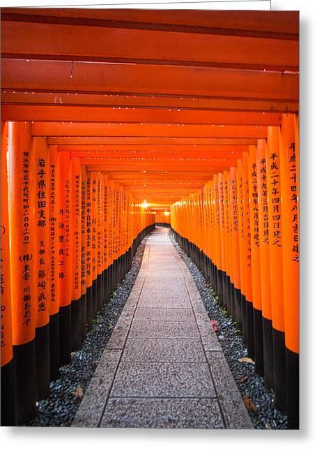 Torii Gate Tunnel In Fushimi Inari Shrine Greeting Card by Laura Palmer