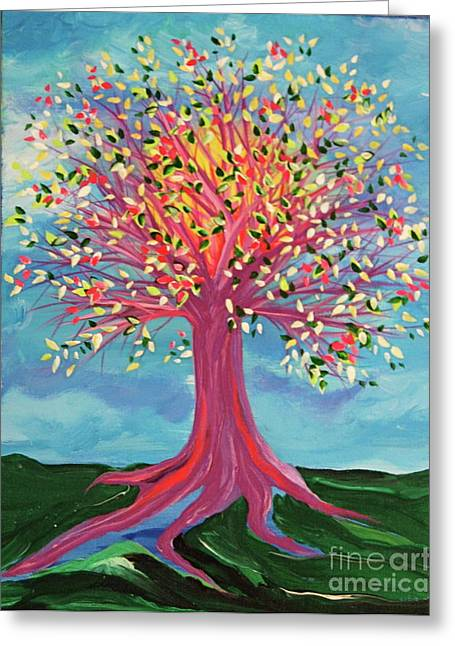 Greeting Card featuring the painting Tori's Tree By Jrr by First Star Art