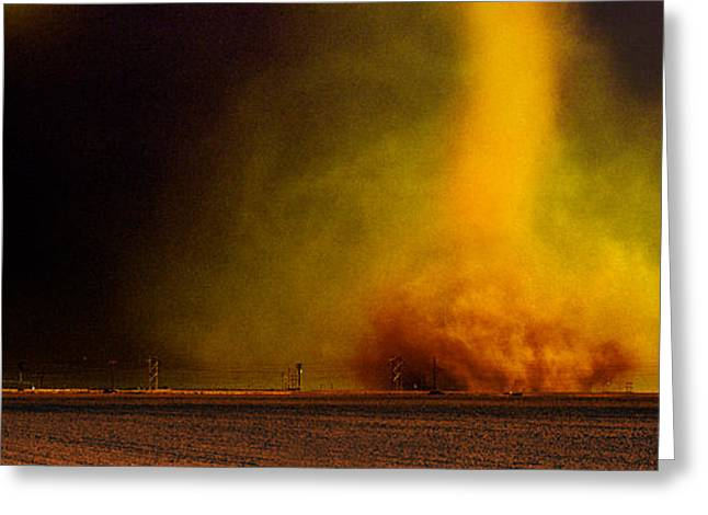 Tornado In A Field Greeting Card by Panoramic Images