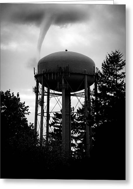 Black And White Greeting Card featuring the photograph Tornado Tower by Aaron Berg
