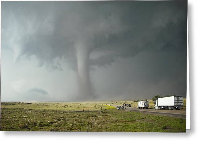 Greeting Card featuring the photograph Tornado Truck Stop by Ed Sweeney