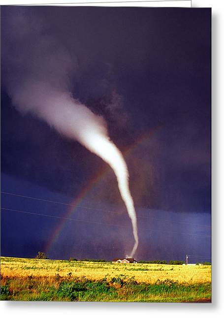 Tornado With Rainbow In Mulvane Kansas Greeting Card