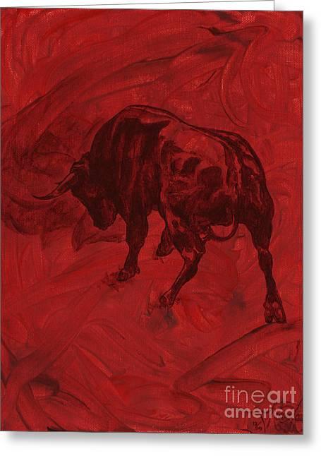 Toro Painting Greeting Card by Konni Jensen