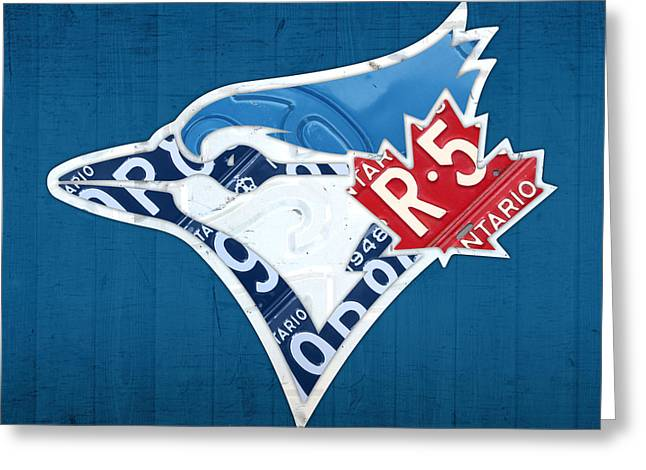 Toronto Blue Jays Baseball Team Vintage Logo Recycled Ontario License Plate Art Greeting Card by Design Turnpike