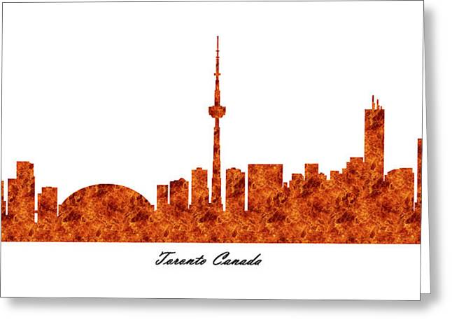 Toronto Canada Raging Fire Skyline Greeting Card
