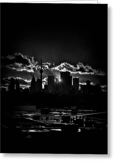 Toronto Canada Skyline At Sunset From The Pape St Bridge Greeting Card by Brian Carson