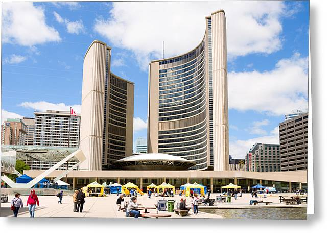 Toronto City Hall, Nathan Phillips Greeting Card by Panoramic Images