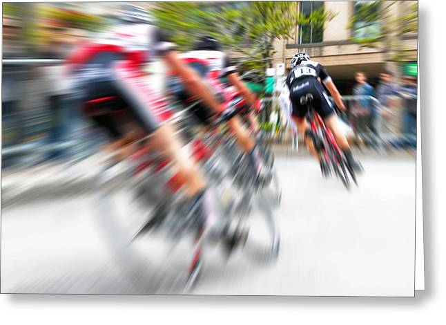Greeting Card featuring the photograph Toronto Criterium Bicycle Race Special Fx - Lucky Number 13 by Brian Carson