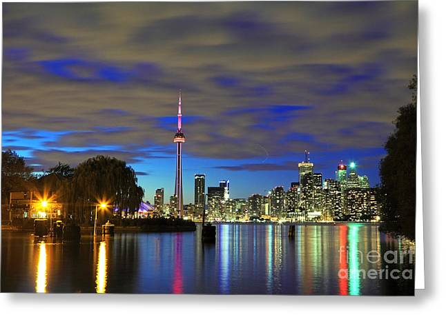 Toronto In Blue Light Greeting Card by Charline Xia