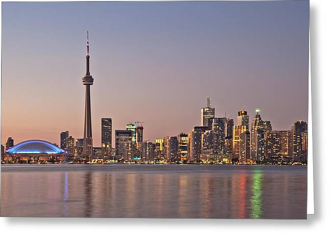 Toronto Night Skyline Tower Downtown Skyscrapers Sunset Canad Greeting Card