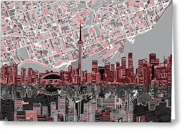 Toronto Skyline Abstract 5 Greeting Card