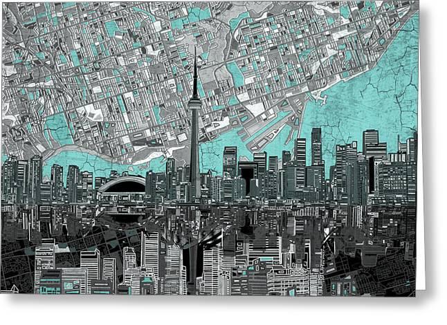 Toronto Skyline Abstract 6 Greeting Card