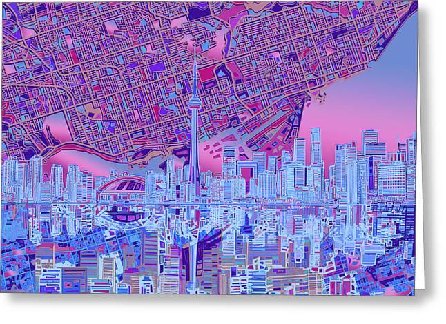Toronto Skyline Abstract 8 Greeting Card