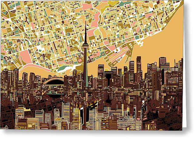 Toronto Skyline Abstract 9 Greeting Card