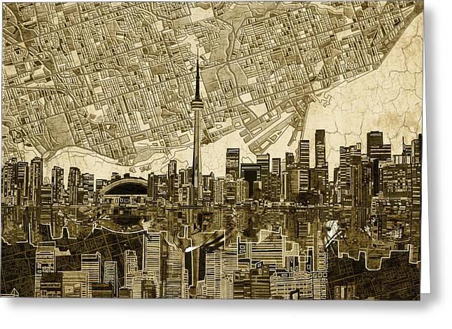 Toronto Skyline Abstract Vintage Greeting Card