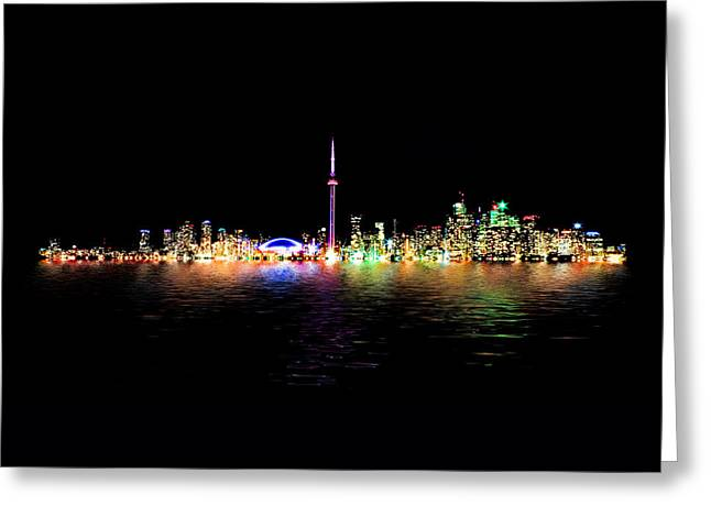 Toronto Skyline At Night From Centre Island Reflection Greeting Card