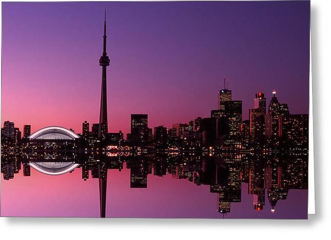 Toronto Skyline At Sunset, Toronto Greeting Card by Alan Marsh