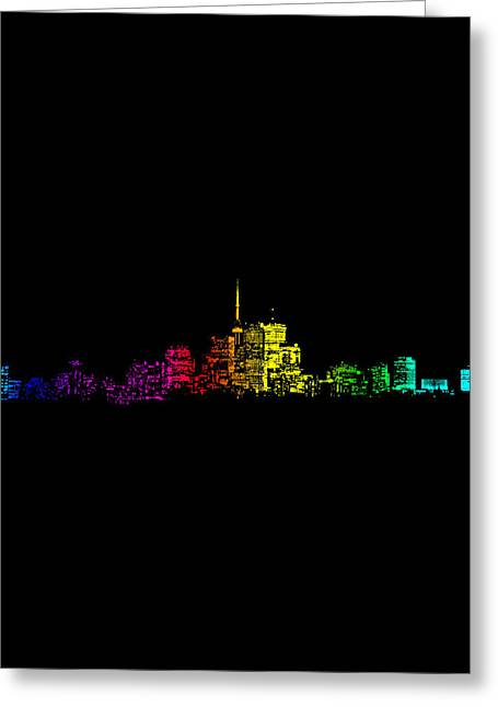Greeting Card featuring the digital art Toronto Skyline Gradient by Brian Carson