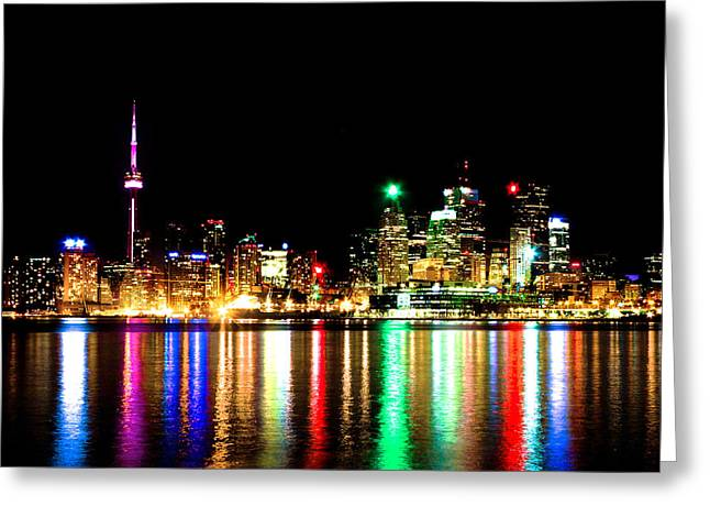 Toronto Skyline Night Greeting Card