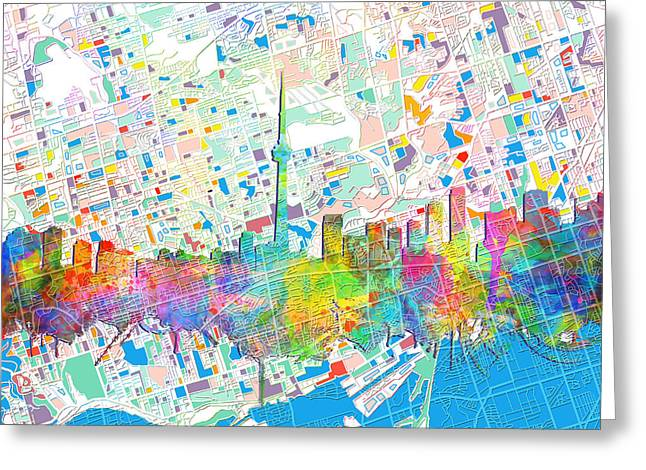 Toronto Skyline Watercolor 5 Greeting Card