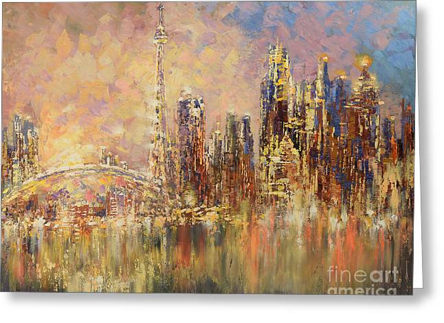 Greeting Card featuring the painting Toronto Yyz by Tatiana Iliina