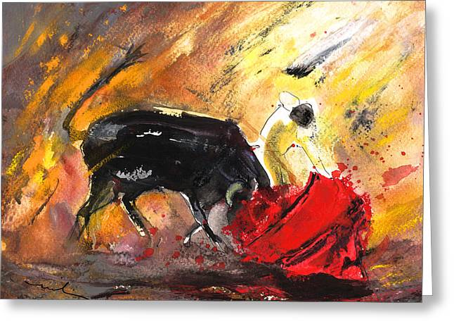Bullfighting In Shadow And Light Greeting Card