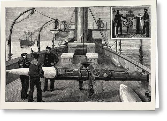 Torpedo Gun Boat, Loading A Torpedo Tube On The Upper Deck Greeting Card by English School