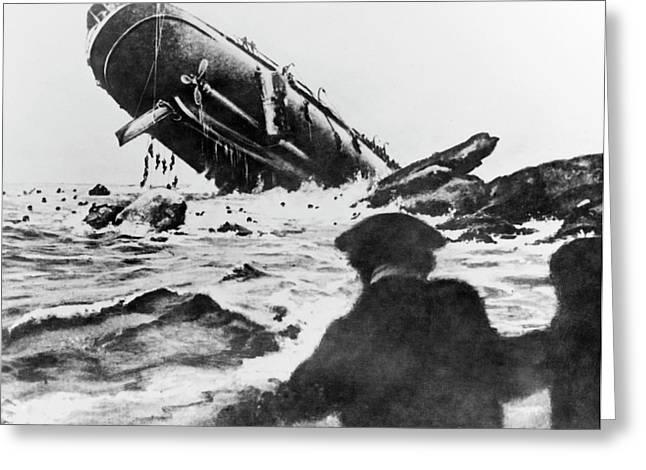 Torpedoed Ship In World War I Greeting Card