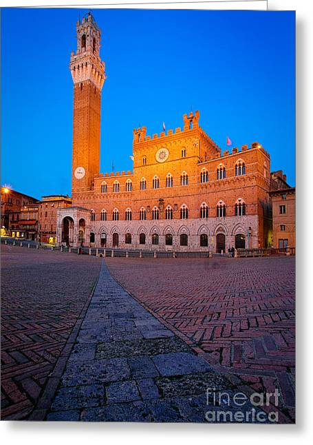 Torre Del Mangia Greeting Card by Inge Johnsson