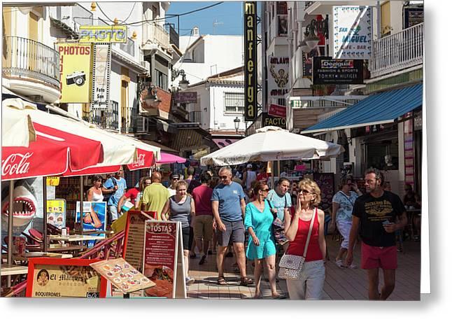Torremolinos, Spain. Shopping San Greeting Card by Ken Welsh
