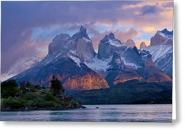 Torres Del Paine National Park, Cuernos Greeting Card by Howie Garber