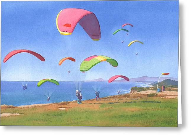 Torrey Pines Gliderport Greeting Card by Mary Helmreich