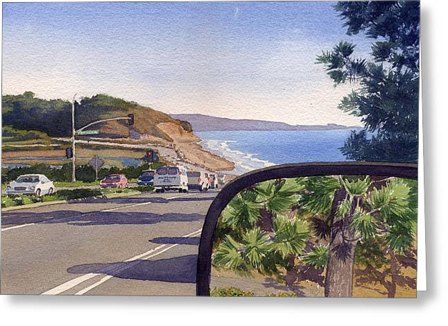 Torrey Pines In Sideview Mirror Greeting Card by Mary Helmreich