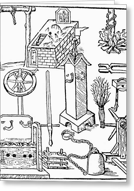 Torture Instruments, 1508 Greeting Card