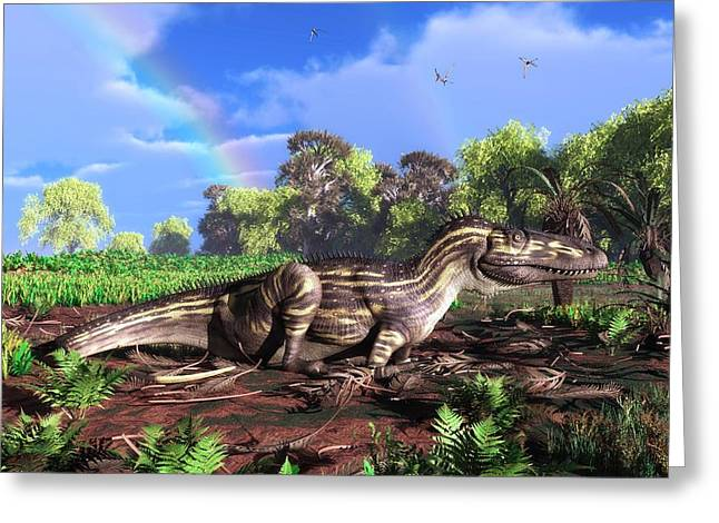 Torvosaurus And Rainbow Greeting Card by Walter Myers