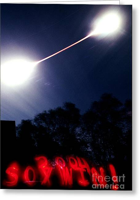 Total Lunar Eclipse And Red Sox Win Greeting Card