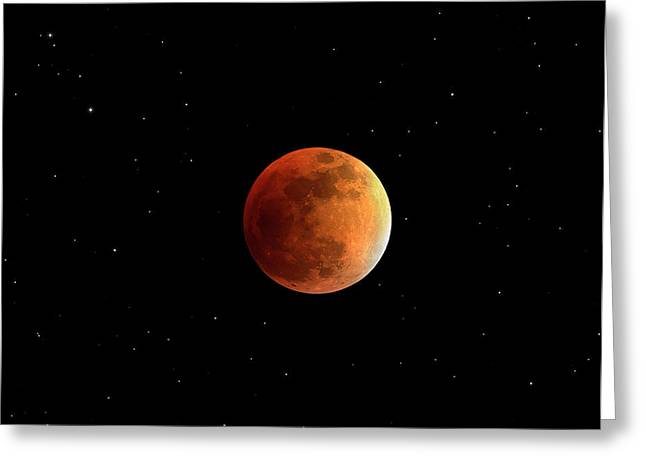 Total Lunar Eclipse Greeting Card by Damian Peach