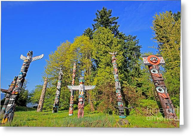 Totem Poles In Stanley Park Greeting Card by Charline Xia
