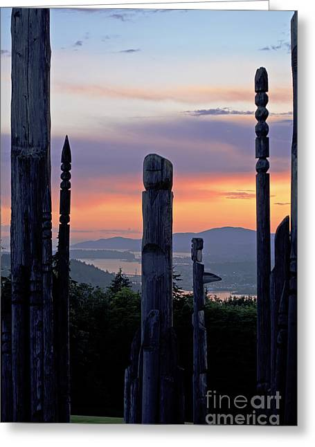 Greeting Card featuring the photograph Totems Aglow by Maria Janicki