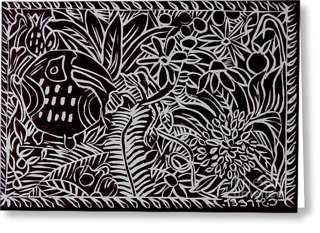 Jungle Scene With Toucan Black  Greeting Card