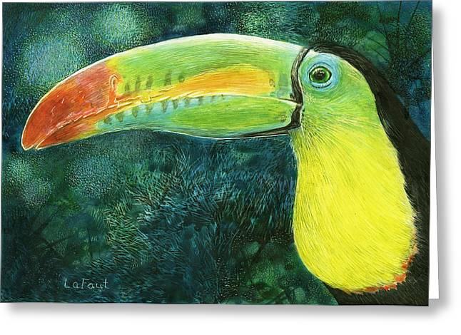 Greeting Card featuring the drawing Toucan by Sandra LaFaut