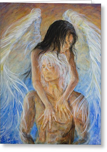 Touch Of An Angel Greeting Card by Nik Helbig